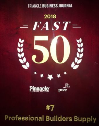 Professional Builders Supply Named 7th Fastest Growing Company In The Triangle